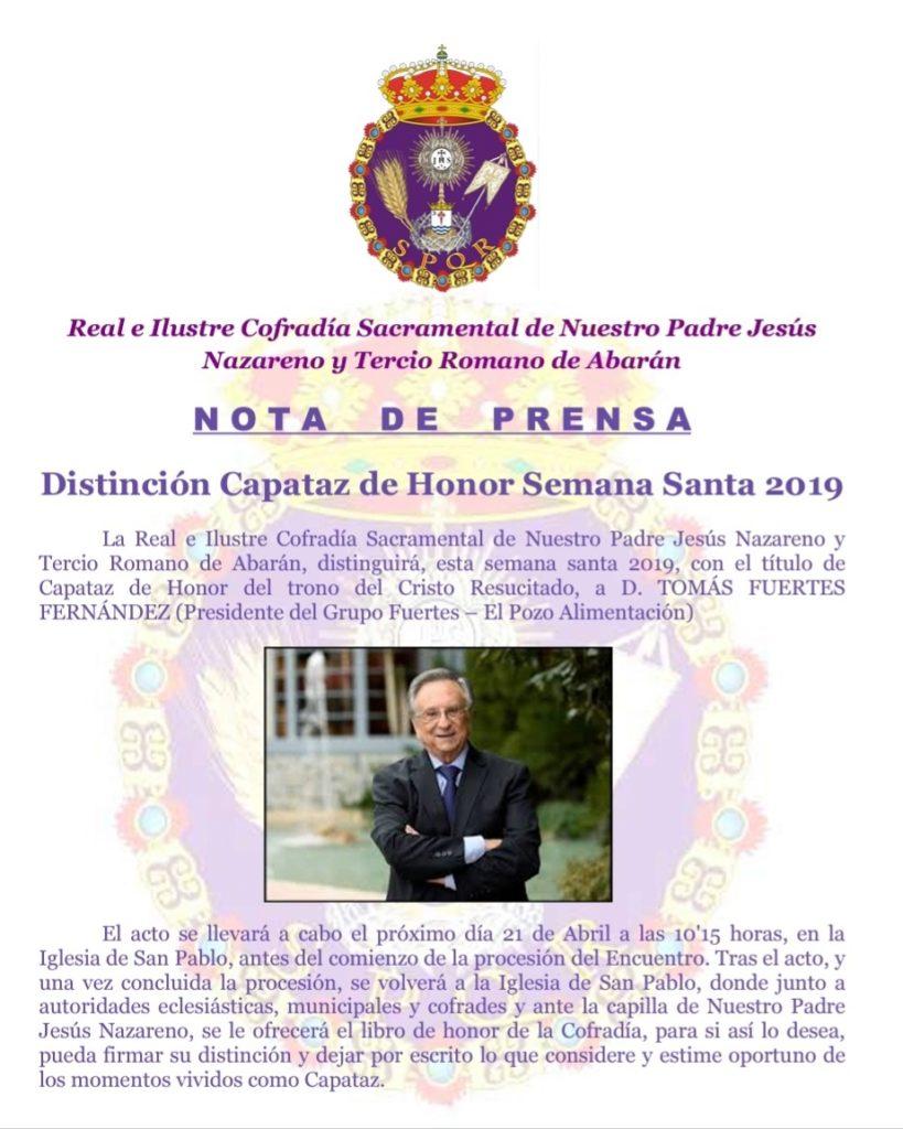 Tomás Fuertes, distinguido como Capataz de Honor de la Semana Santa 2019